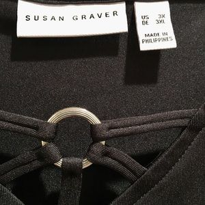 Susan Graver 3X black liquid knit top